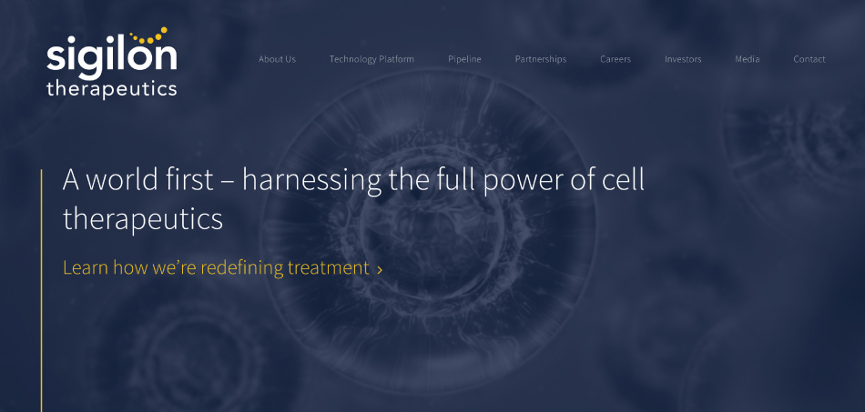 Sigilon Therapeutics Website Design